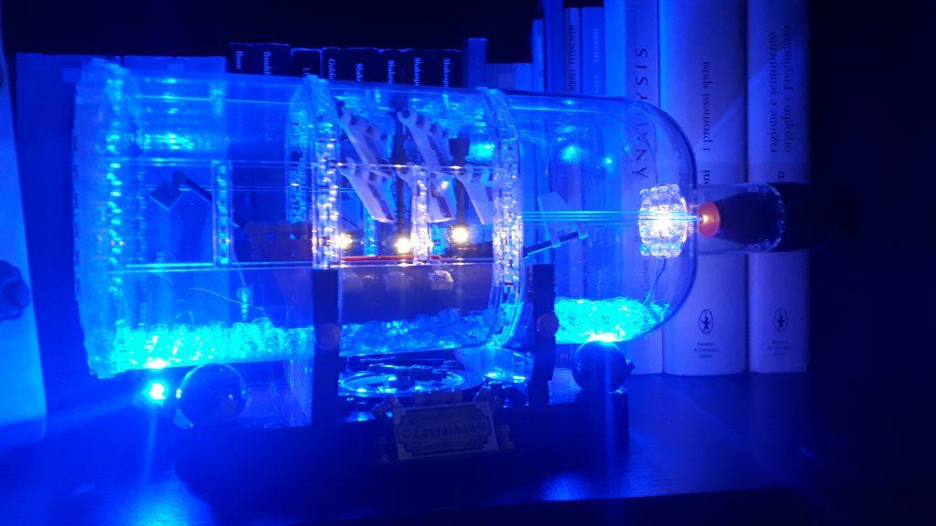 nave in bottiglia Lego illuminata led