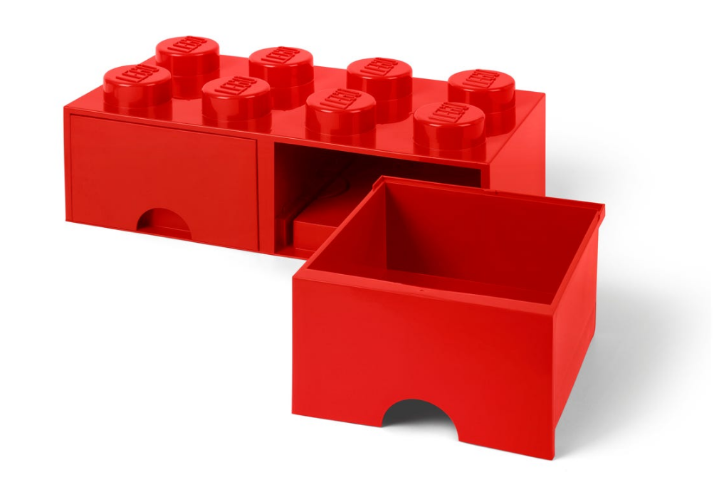 Cassetto-mattoncino a 8 bottoncini rosso LEGO®