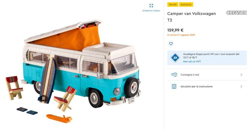 Lego Creator Camper van Volkswagen T2 - lego shop novità agosto 2021