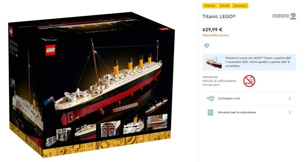 Link per l'acquisto del set Lego Titanic